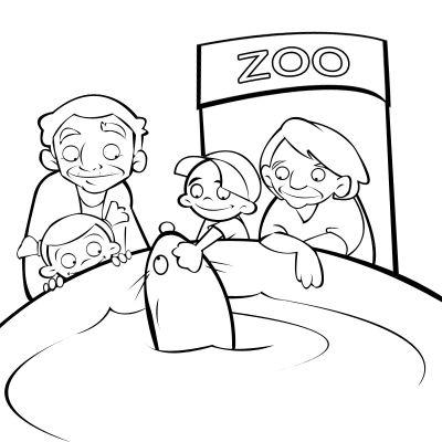 Colorear abuelos viendo a los delfines con sus nietos en el zoo