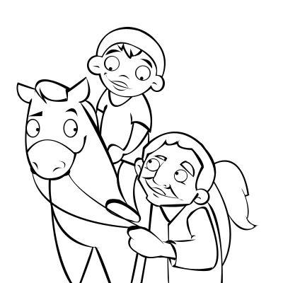 Colorear abuelo con su nieto montando a caballo