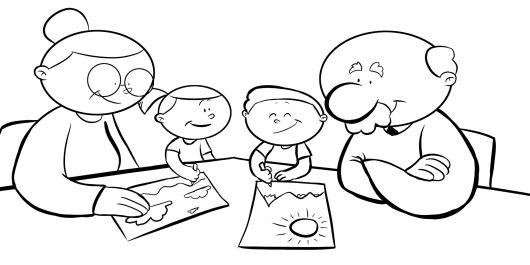 Colorea nietos dibujando para sus abuelos