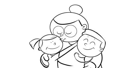 Colorea nietos abrazando a sus abuelos