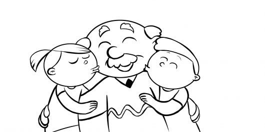 Colorea abuelo recibiendo los besos de sus nietos