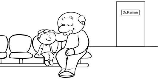 Colorea abuelo llevando a su abuelo al médico