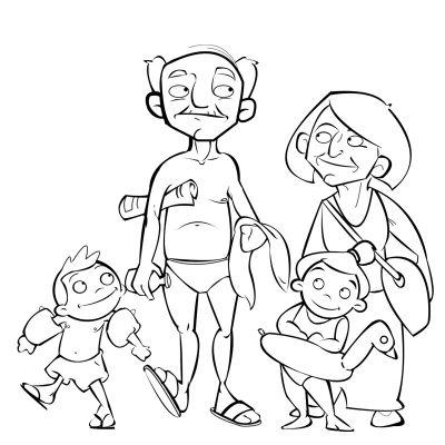 Colorea unos abuelos con sus nietos camino a la playa