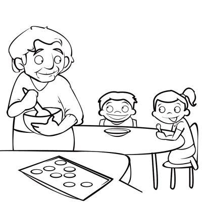 Colorea a una abuela preparando galletas para sus nietos
