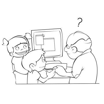 Colorea a niños enseñándo a su abuelo a usar el ordenador