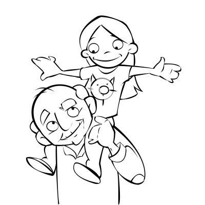 Colorea un abuelo con su nieta a caballito