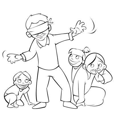 Colorea abuelos jugando a la gallinita ciega con sus nietos