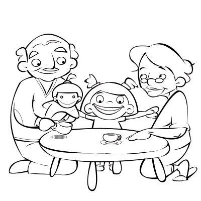Colorea abuelos jugando a las muñecas con su nieta