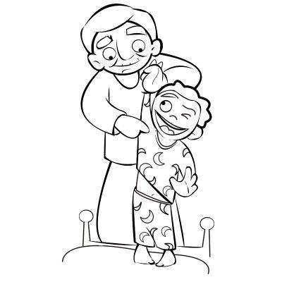 Colorea abuelo haciendo cosquillas a su nieta