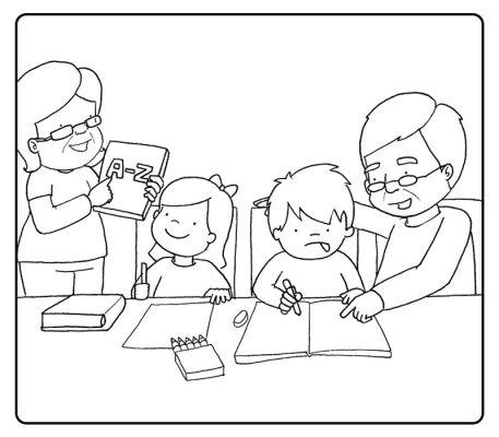 Colorea a los abuelos haciendo los deberes con sus nietos