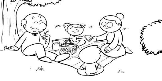 Colorea a unos abuelos con sus nietos de picnic