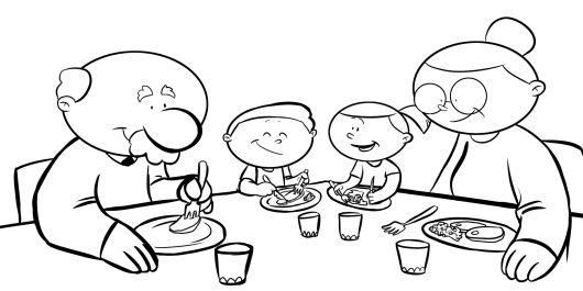 Colorea abuelos con sus nietos sentados en la mesa comiendo