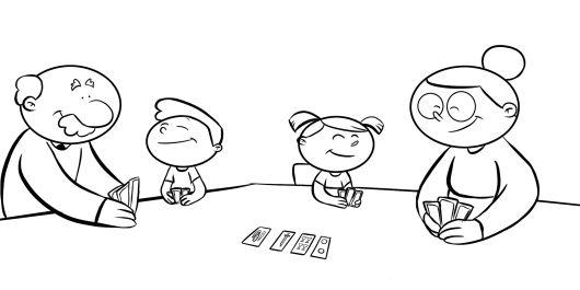 Colorea abuelos jugando a las cartas con sus nietos