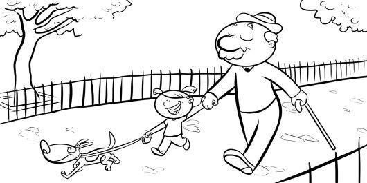 Colorea a una niña con su abuelo paseando al perro