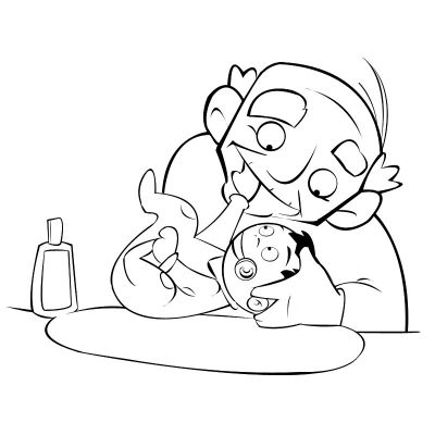 Colorea abuelo mordiendo la manita de nu nieto