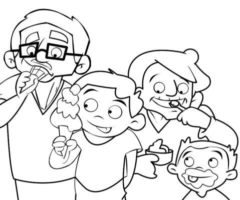 Colorea abuelos tomando un helado con sus nietos