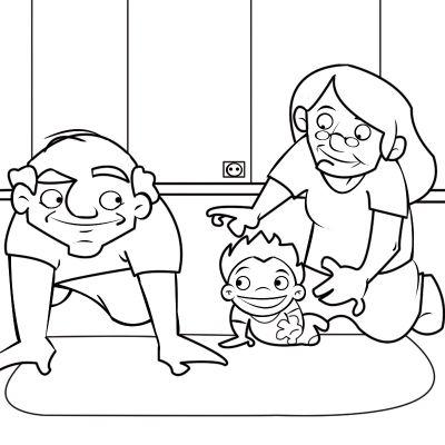 Colorea abuelos cogiendo a su nieta que gatea