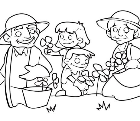 Colorea abuelos cogiendo flores en al campo con sus nietos