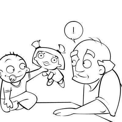 Colorea a un bebé enseñando su nuevo juguete a su abuelo