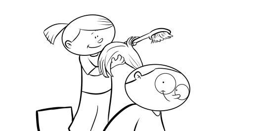 Colorea a una niña peinando a su abuela