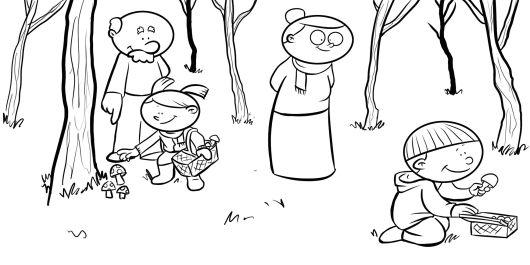 Colorea abuelos con sus nietos buscando setas