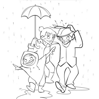 Colorear abuelos corriendo bajo la lluvia con su nieto
