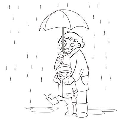 Colorea abuela acogiendo a su nieta bajo el paraguas