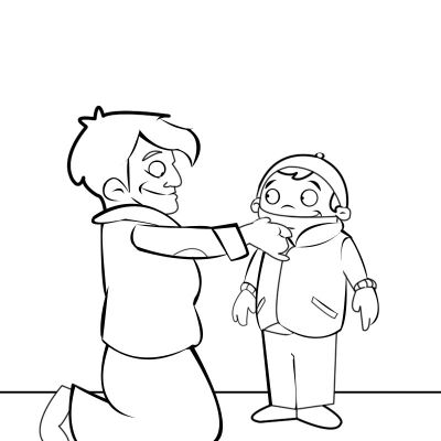 Colorear abuela poniendo el abrigo y bufanda a su nieto
