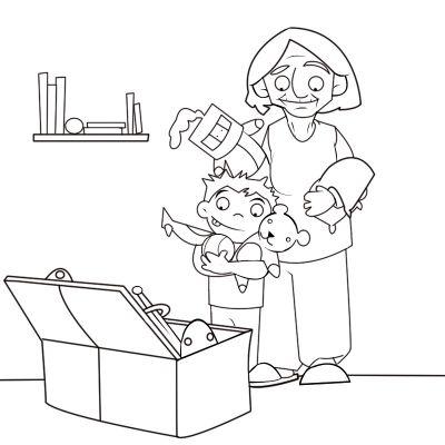 Colorear abuela colocando los juguetes con su nieto