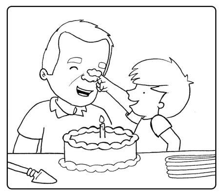 Colorea niño tirando de las orejas a su abuelo