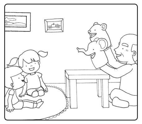 Colorear abuelo haciendo marionetas a sus nietos