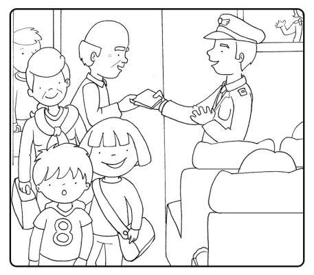 Colorea abuelos subiendo a un avión con sus nietos