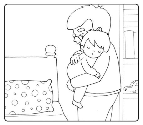 Colorea al abuelo llevando a su nieto dormido a la cama