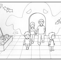 Colorea abuelos con sus nietos en la casa del terror