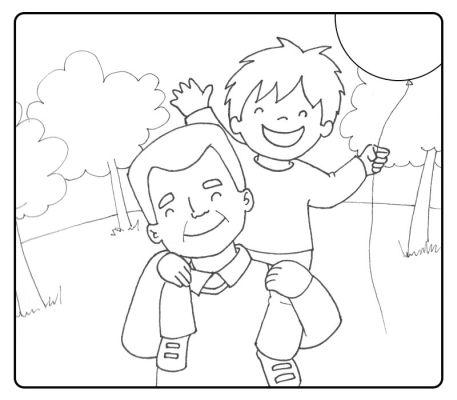 Colorea a un abuelo llevando a su nieto sobre el cuello
