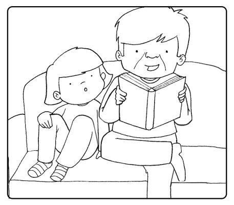 Colorea nieto leyendo un cuento a su abuelo