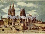 Vista alejada de la catedral de burgos a color