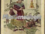 Mujer española y escudo de ávila