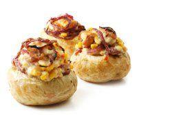 Patatas rellenas jamón y queso