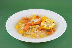 Arroz caldoso con zanahoria y maiz