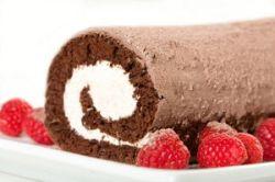 Brazo gitano de chocolate con nata
