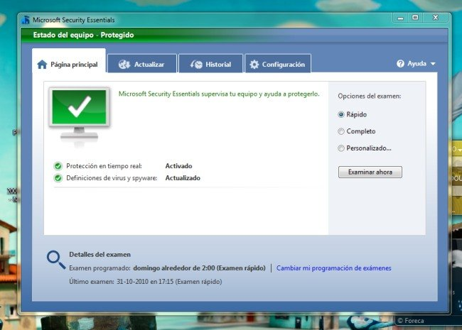 Página principal de Microsoft Security Essential