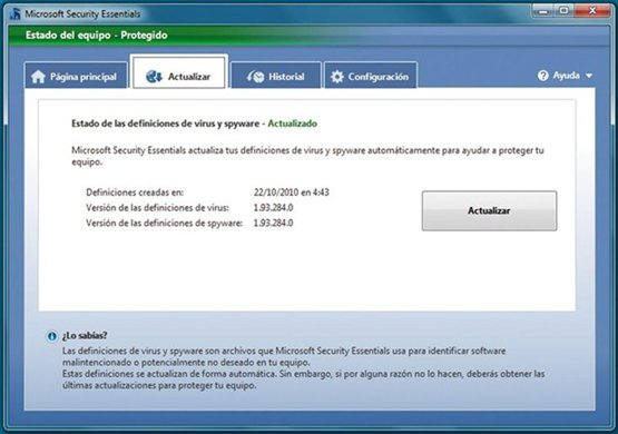 Actualizar Microsoft Security Essential