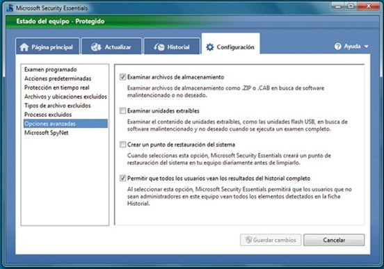 Configuración de Microsoft Security Essential