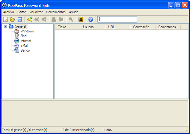 Keypass: base de datos