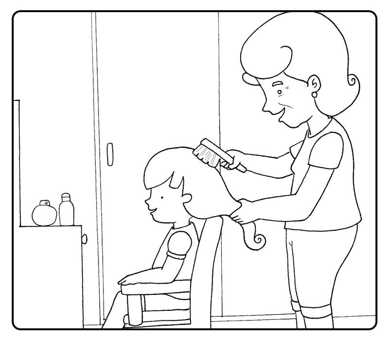 ... cepillando el pelo de su nieta. Colorear con niños. Plusesmas.com