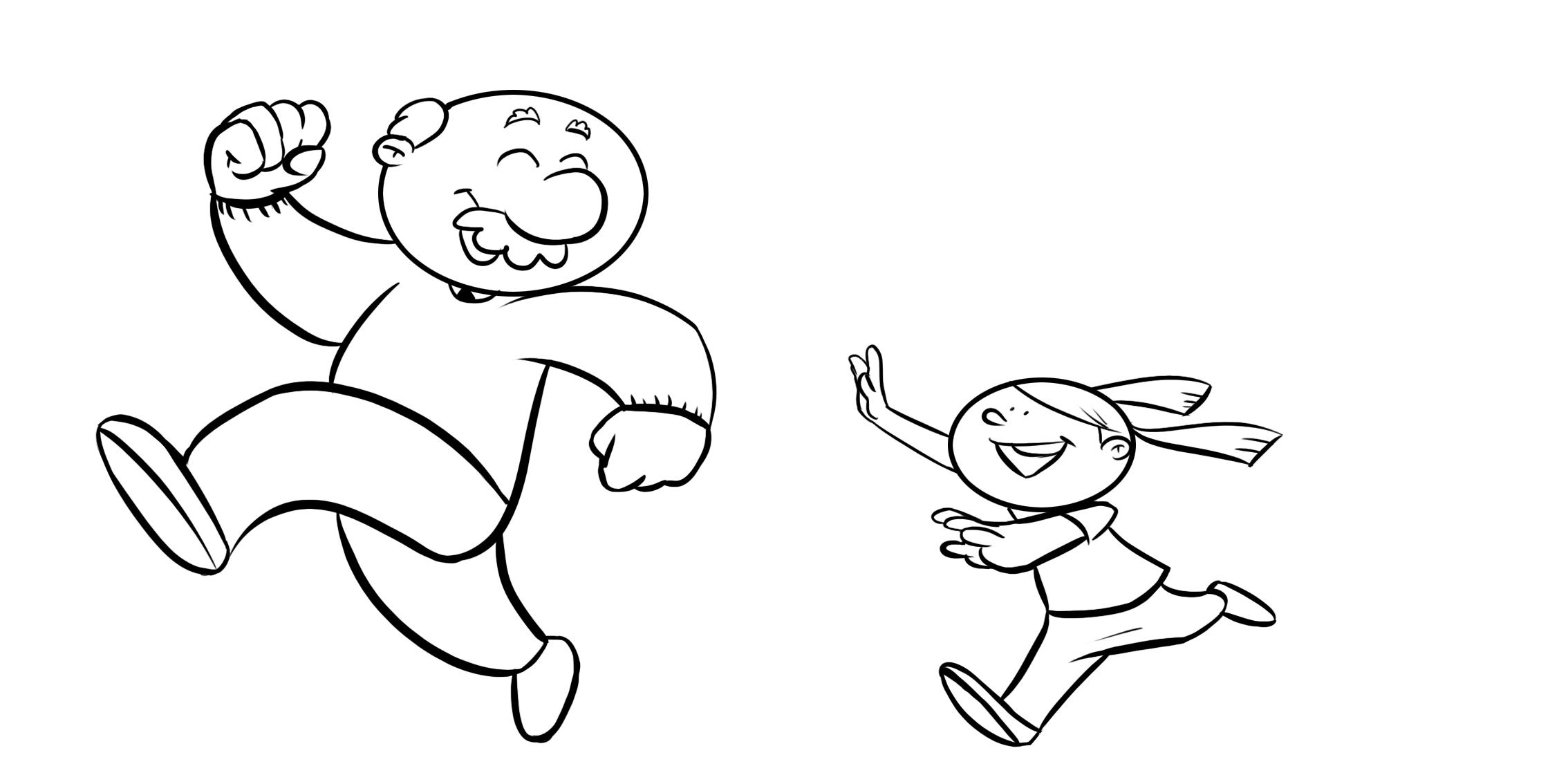 Colorea niña corriendo detrás de su abuelo. Colorear con niños ...