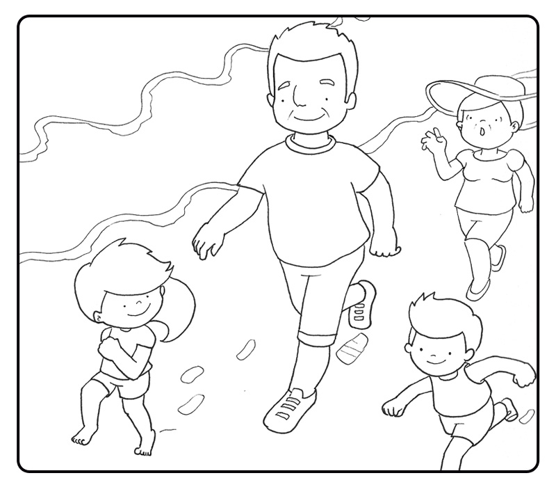 Dibujos con niños: Colorear abuelos corriendo por la playa con sus ...