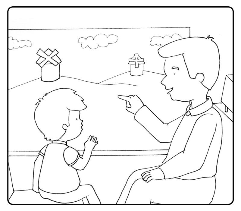 Colorea abuelo mirando el paisaje con su nieto por la ventana ...