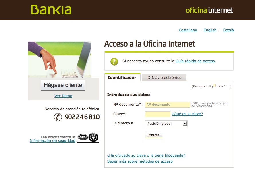 C mo utilizar tu banco en internet for Bankia oficina virtual